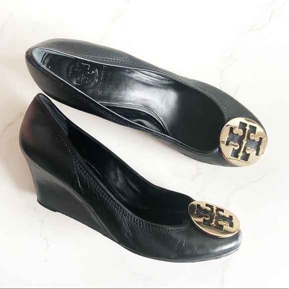 TORY BURCH Black Leather Sally Wedge with Gold